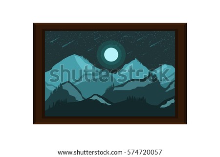 frame picture mountain hill landscape.vector and illustration