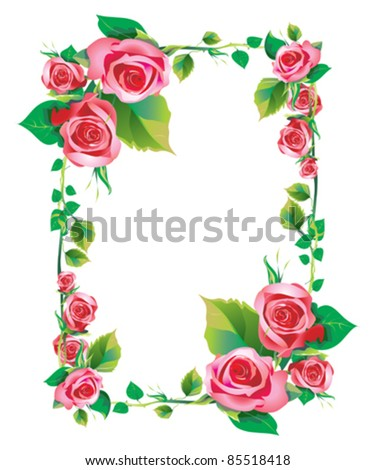frame rose - stock vector