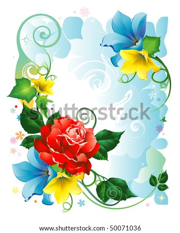 Frame rose and bindweed flowers - stock vector
