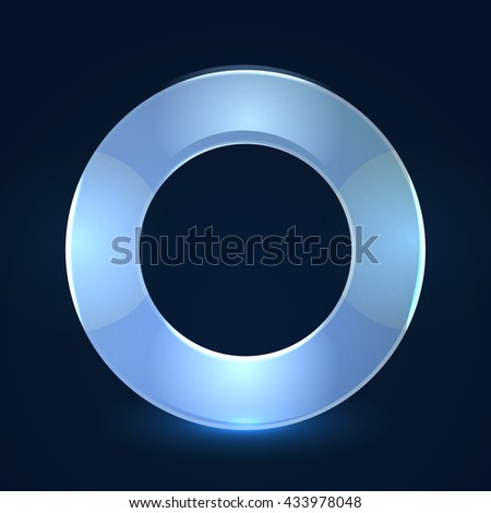 Frame round glass glowing. Shiny ring glossy isolated on black background. Vector illustration - stock vector