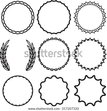 Frame Round Set Decoration Template Vintage Stock Vector