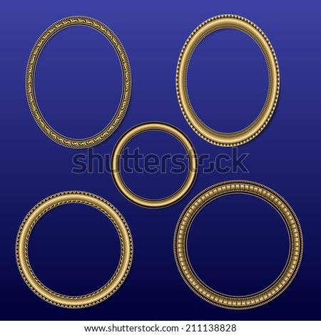 frame round shape for photos and pictures of golden color on a dark blue background  - stock vector