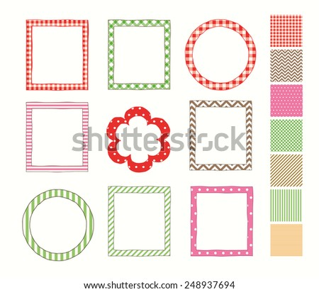 Frame set and a set of the seamless patterns (used for the frames).  - stock vector