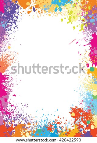 Frame template made of paint stains - stock vector