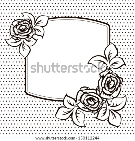 Frame template with roses for a card - stock vector
