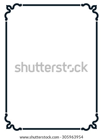 Frame vintage line border vector isolated simple - stock vector