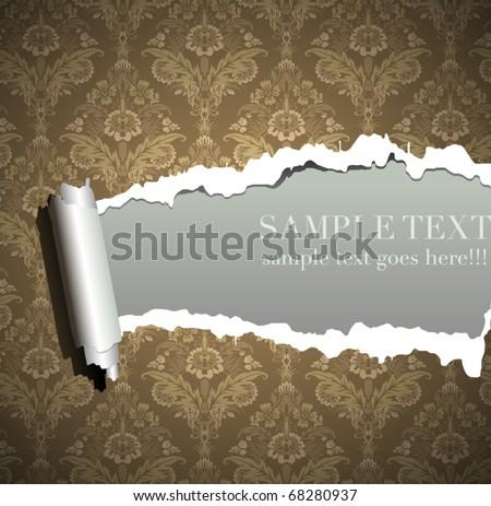 Frame wallpaper torn, vintage baroque background - stock vector