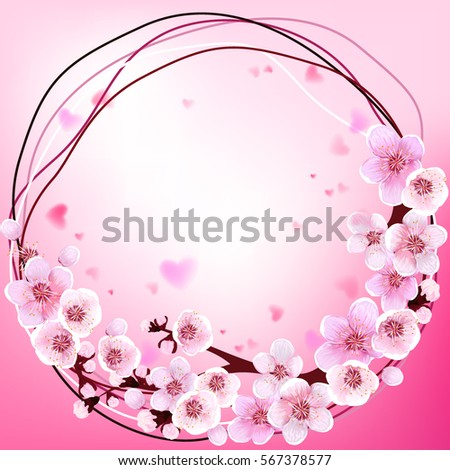 Frame. Wedding. Spring Flowers. Blooming Background Wallpaper Decoration. Holiday Greeting Card. Apricot Flower. Sakura. Japan Cherry. Blooming Flowers. Vector illustration. Springtime realistic