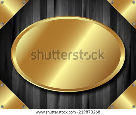 Frame with a gold plate on dark wooden background - stock vector