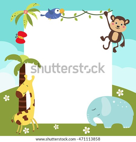 Frame with a variety of cute African animals. Funny card with empty space for text