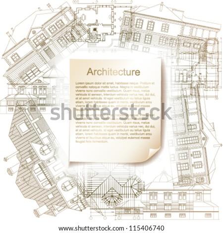 Wooden desk architecture bluerints vector illustration for Architectural design elements