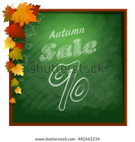 Frame with autumn colorful leaves. Sale illustration.