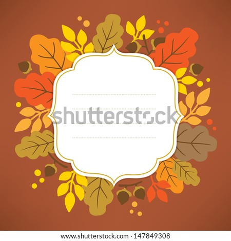 Frame with autumn leaves - stock vector