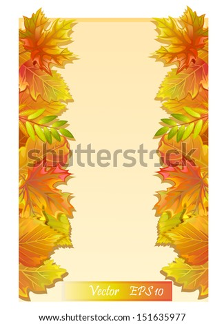 Frame with autumn leaves and place for text - vector eps 10