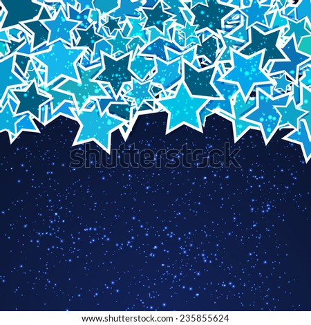 frame with blue stars for your text on dark blue background