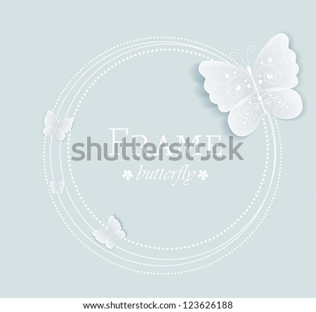 frame with butterflies on a gray background - stock vector