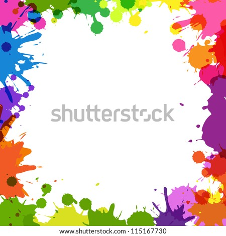 Frame With Color Blobs, Isolated On White Background, Vector Illustration - stock vector