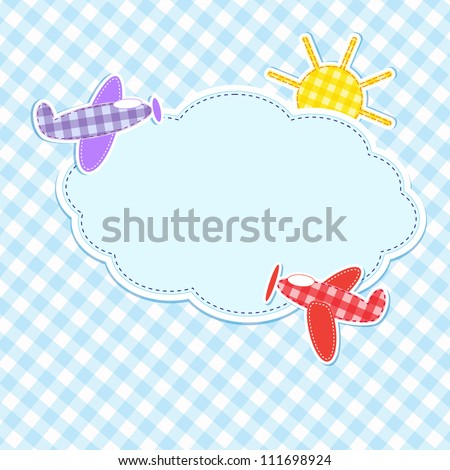 Frame with colorful aeroplanes - stock vector