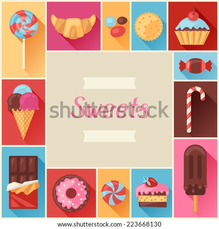 Frame with colorful various candy, sweets and cakes. - stock vector
