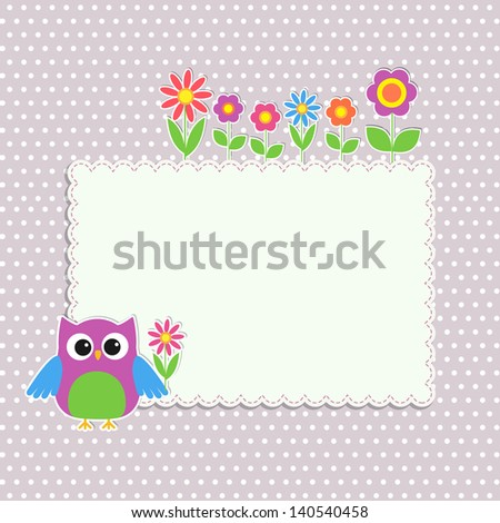 Frame with cute owl and flowers - stock vector