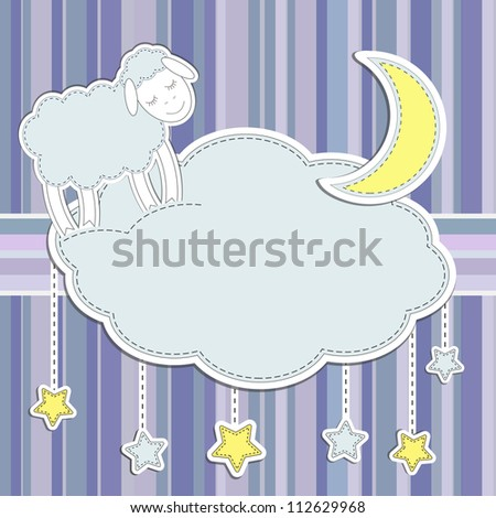 Frame with  cute sheep,moon and stars - stock vector