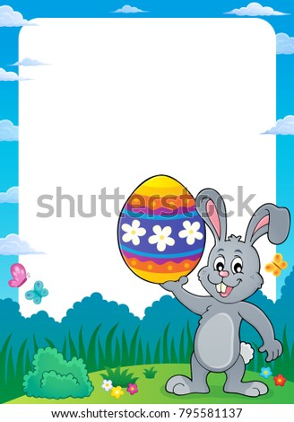 Frame with Easter bunny topic 9 - eps10 vector illustration.