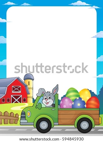 Frame with Easter eggs in truck - eps10 vector illustration.