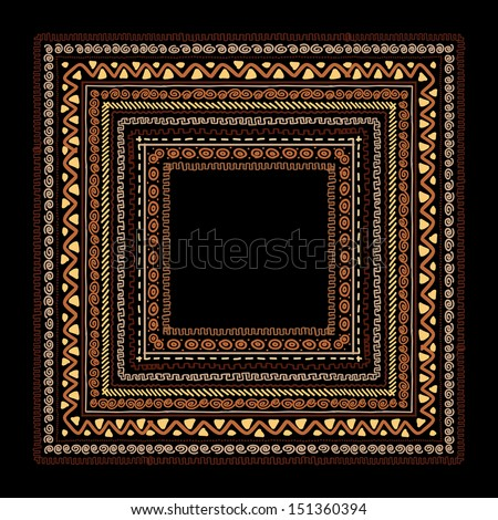 Frame with ethnic handmade ornament for your design - stock vector