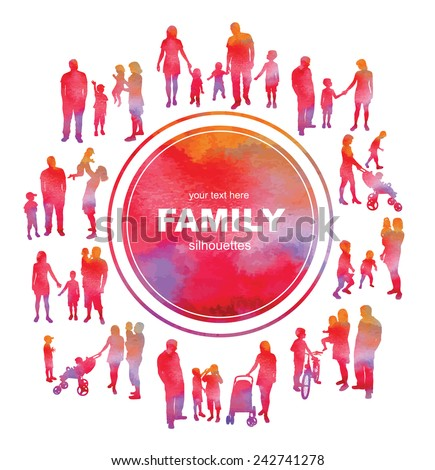 Frame with family silhouettes and watercolor effect. Vector. - stock vector
