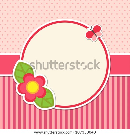 Frame with flower and butterfly - stock vector