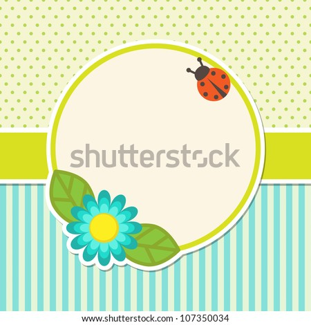 Frame with flower and ladybug - stock vector