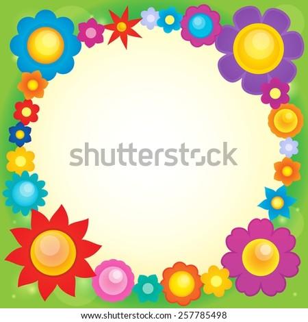 Frame with flower theme 6 - eps10 vector illustration. - stock vector