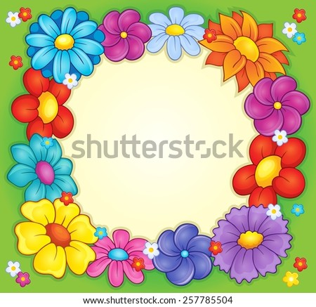 Frame with flower theme 2 - eps10 vector illustration. - stock vector