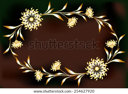 Frame with flowers in the shape of an ellipse. EPS10 vector illustration. - stock vector