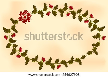 Frame with flowers in the shape of an ellipse on old paper. EPS10 vector illustration. - stock vector