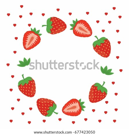 Frame Fruits Card Bright Colorful Strawberry Stock Vector HD ...