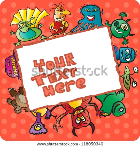 Frame with funny monsters - stock vector