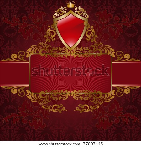 frame with gold ornaments and a shield on red background - stock vector