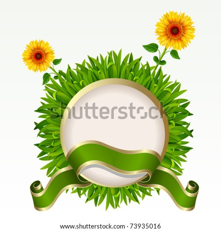 Frame with green grass and sunflowers on it on a white background. Mesh. - stock vector