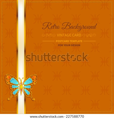 frame with  jewelry  butterfly  precious of stones and ribbon on orange background in vintage style - stock vector