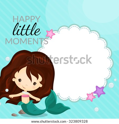 Frame with mermaid and place for text - stock vector