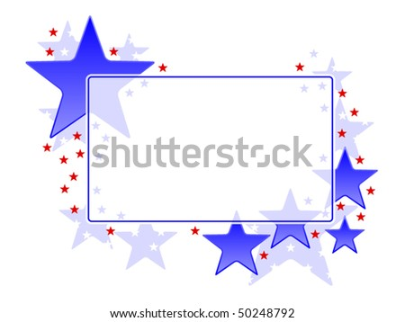 Frame with patriotic red and blue stars