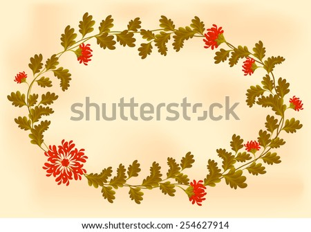 Frame with red flowers in the shape of an wreath on old paper. EPS10 vector illustration. - stock vector