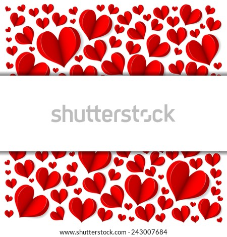 Frame with red hearts on a white background. Vector.