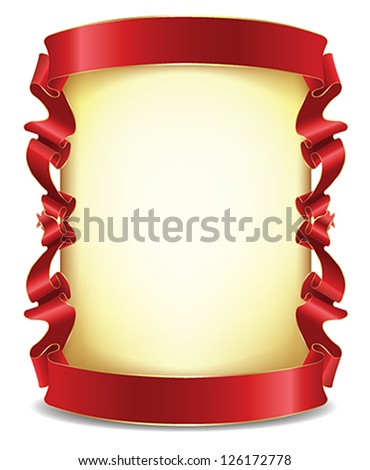 Frame with red ribbons - stock vector