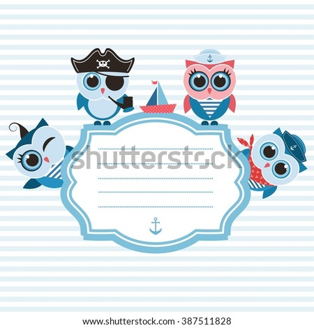 Frame with sailor owls - stock vector