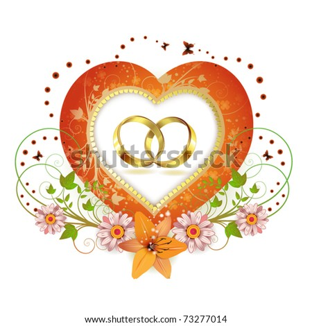 Frame with shape heart and two wedding ring, decorated flowers isolated on white background - stock vector