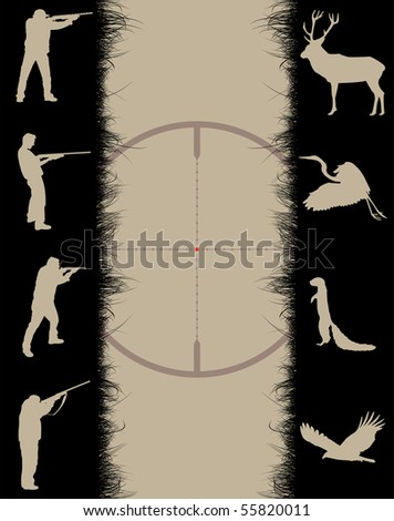 Frame with sniper sight, animals and hunters, vector illustration - stock vector