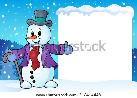Frame with snowman topic 2 - eps10 vector illustration. - stock vector