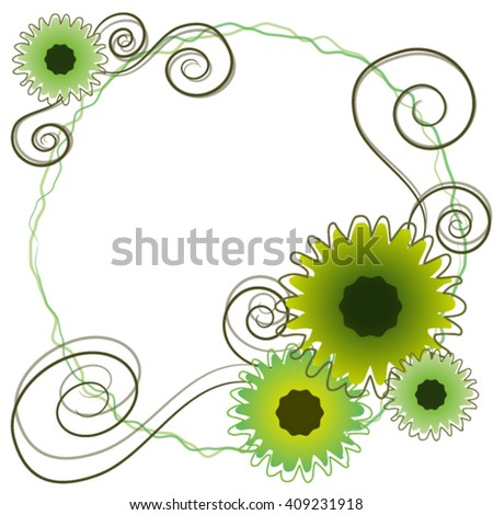 frame with sunflowers. - stock vector
